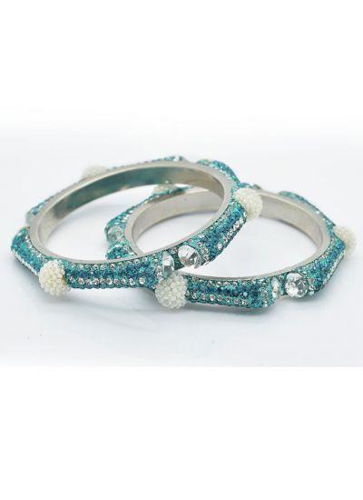 Ornate Pearl Diamonte Bangle Set