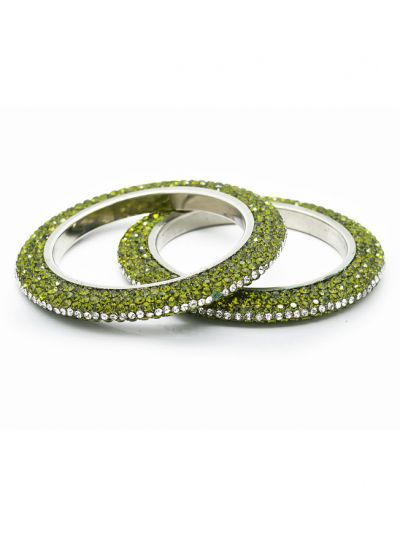 Ornate Crystal Bangle Set