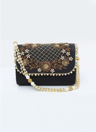 Black Intricate Flap Over Clutch