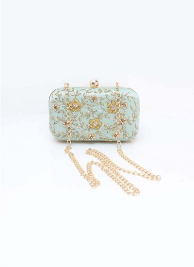 Mint Embellished Rectangular  Clutch