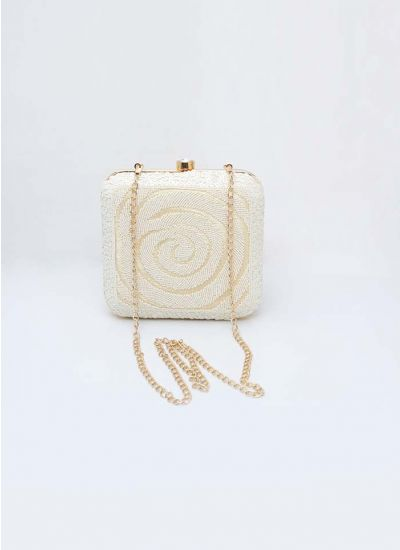 Cream Beaded Box Clutch