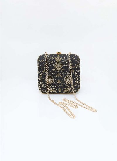 Black Zardozi Box Clutch