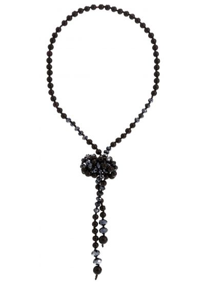Black Bead Knotted Chain