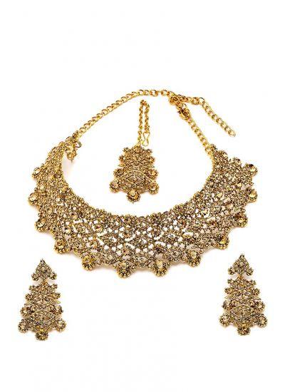 Choker Crystal Necklace, Earring & Tikka Set