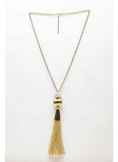 Beige Fringe Necklace-Beige-STD