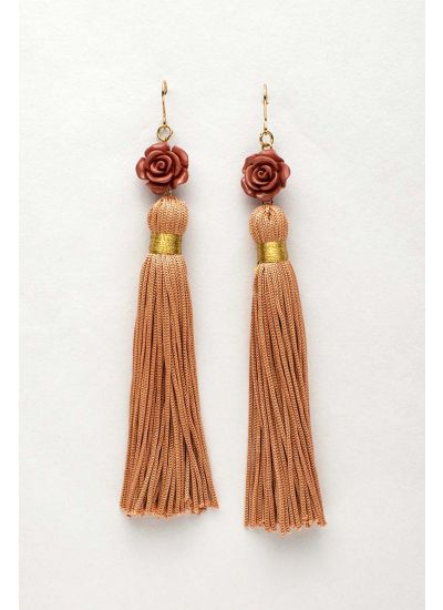 Rose Flower Tassel Earrings