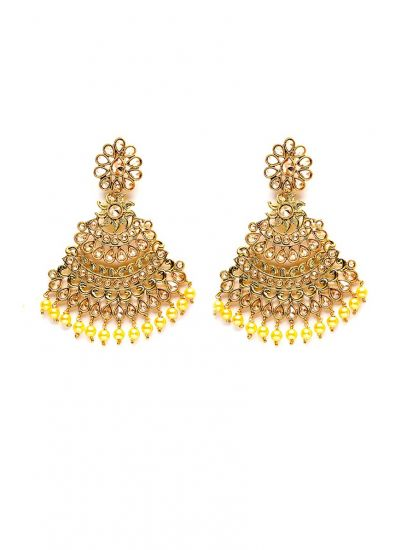 Gold Pearl Floral Fan Earrings