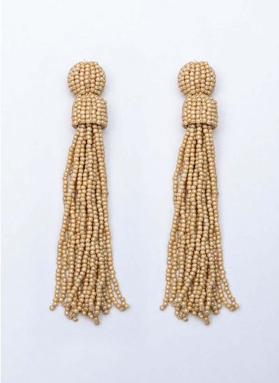 Beige Beaded Tassel Earrings