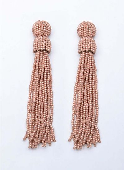 Rose Beaded Tassel Earrings
