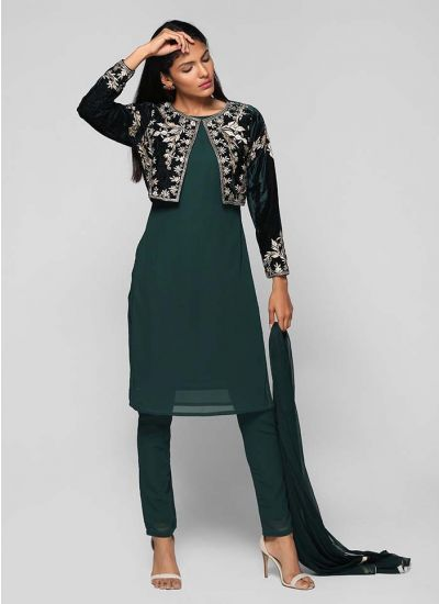 Embroidered Bolero Jacket Suit