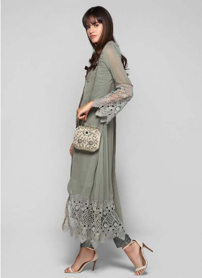 Lace Bell Sleeved Jacket Suit