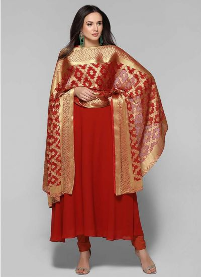 Flared Woven Dupatta Suit