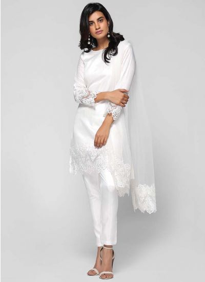 Beaded Lace Edged Trouser Suit