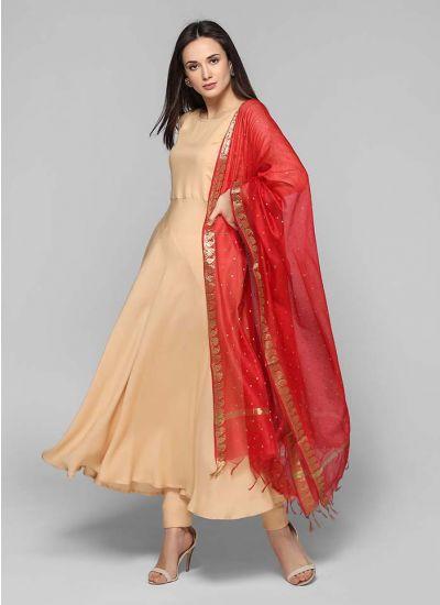 Flared Banarasi Dupatta Suit