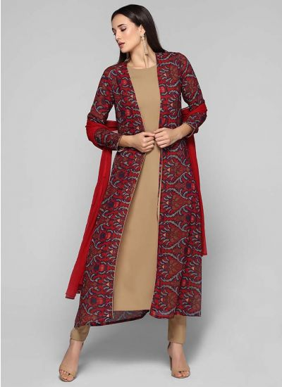 Traditional Print Jacket Suit
