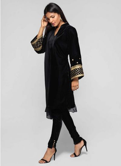 Velvet Embroidered Bell Sleeve Suit