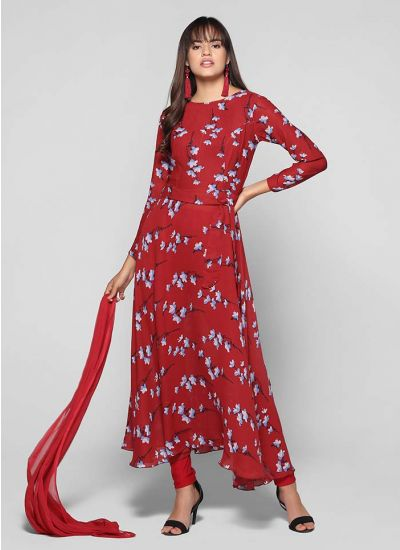 Floral Print Flared Belted Suit