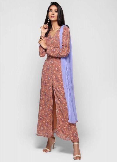 Ditsy Foliage Print Suit