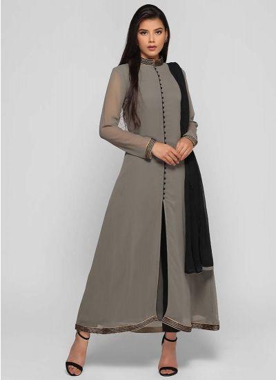 Khaki Beaded Potli Dress