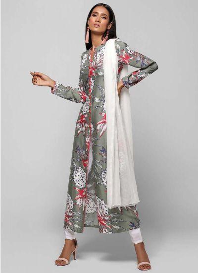 Bold Lotus Print A-line Suit