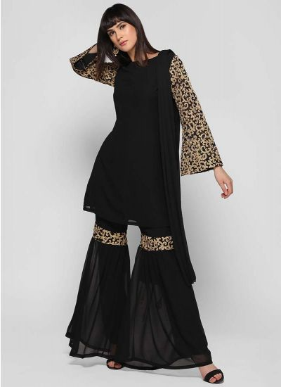 Embellished Bell Sleeved Gharara Suit