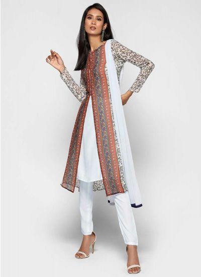Bordered Aztec Chiffon Jacket Dress