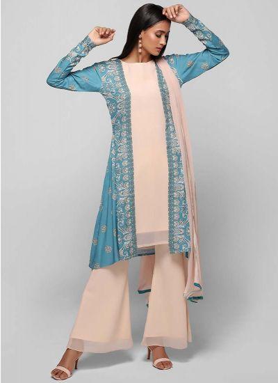 Printed Jacket Bell Bottom Suit