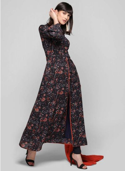 Ditsy Printed Front Slit A-line Suit