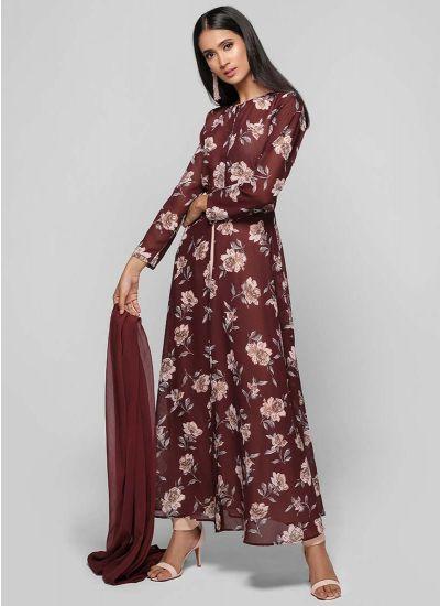 Rose Printed Regal Dress
