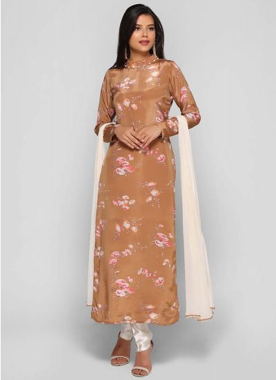 Camel Sheen Printed Dress