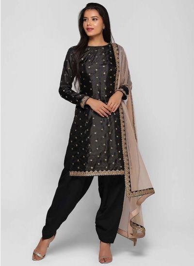 Sequined Black & Blush Shift Dress