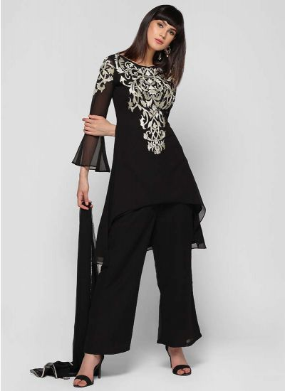 Asymmetric Embroidered Culottes Suit
