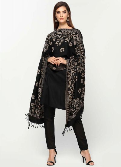 Noir Botanic Shawl Shift Dress