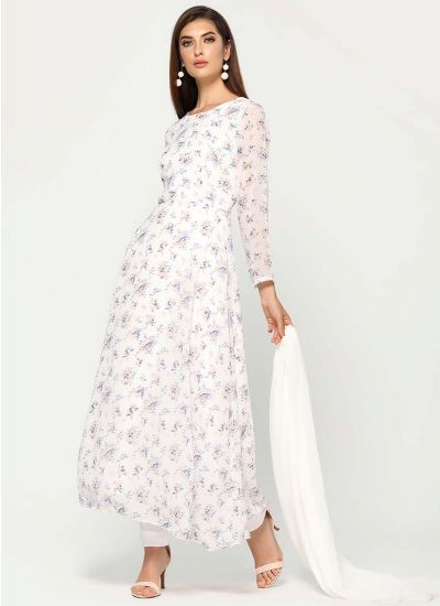 Ditsy Floral White Dress