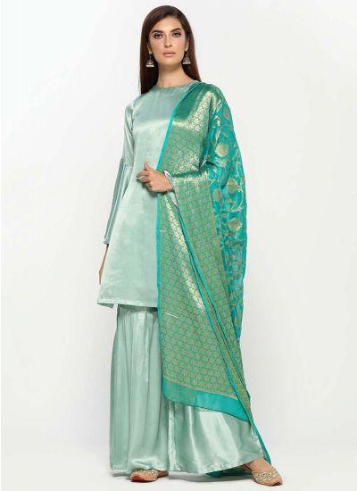 Mint & Turquoise Dupatta Suit