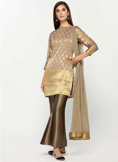 Metallic Satin & Jacquard Dress