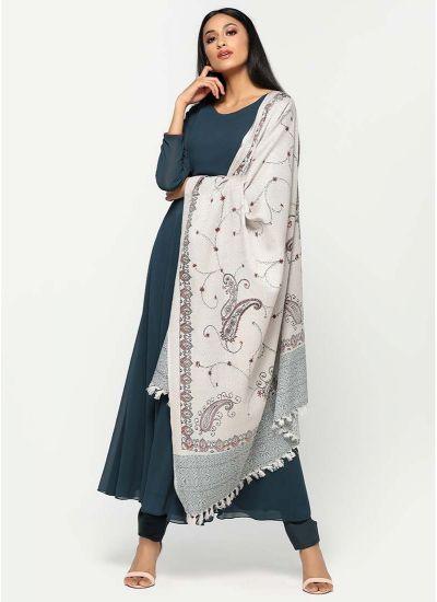 Teal Kashmiri Shawl Dress