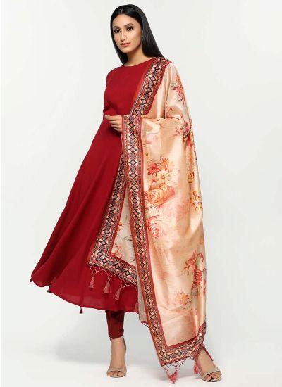 Botanic Printed Silk Dupatta Set