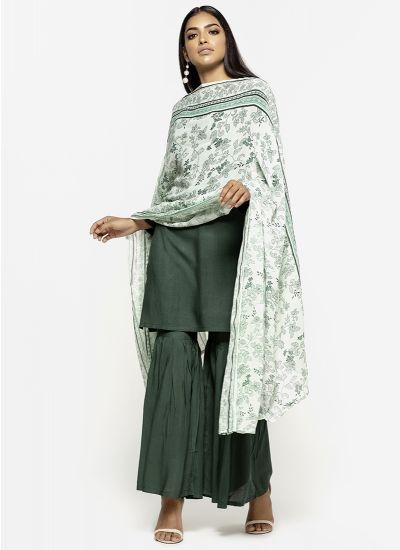 Emerald Printed Gharara Dress