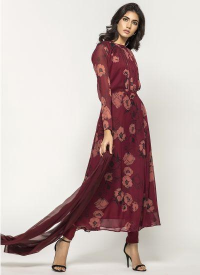 Wine Rose Ruffled Dress
