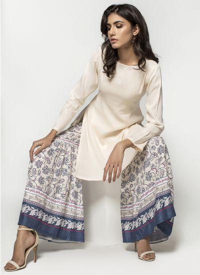 Indigo Printed Gharara Dress