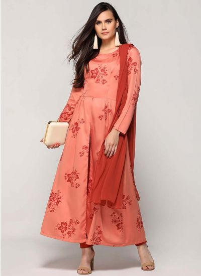 Peachy Floret Printed Suit