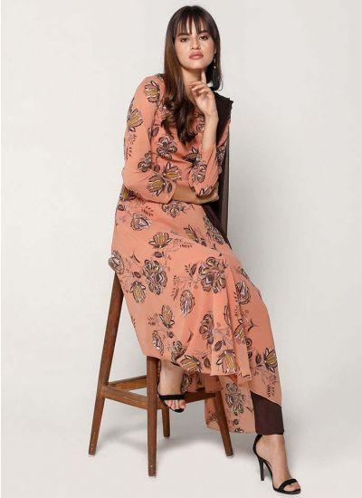 Peach Flared Chintz Print Dress