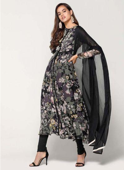 Black & Khaki Floral Camouflage Jacket Dress