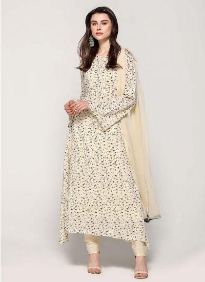 Flowery Print Asymmetric Dress