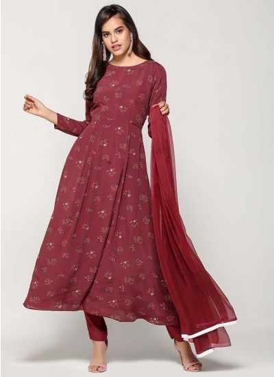 Wine Blossomy Printed Flared Dress
