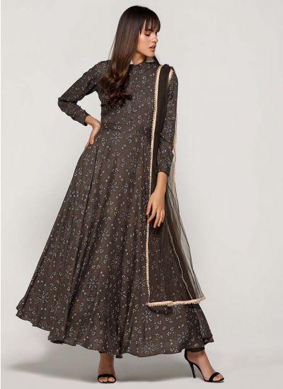 Khaki Floweret Collared Flared Dress