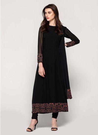 Black Traditional Border Flowy Dress