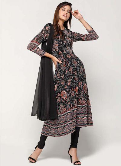 Black Intricate Floral Churidaar Suit