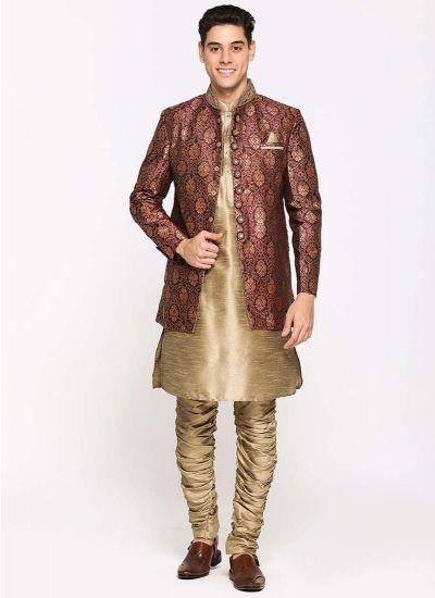 Intricate Brocade Jacket Suit Set